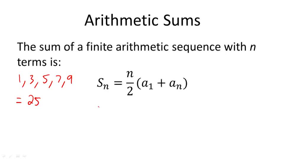 Finding the Sum of a Finite Arithmetic Series | CK 12 Foundation