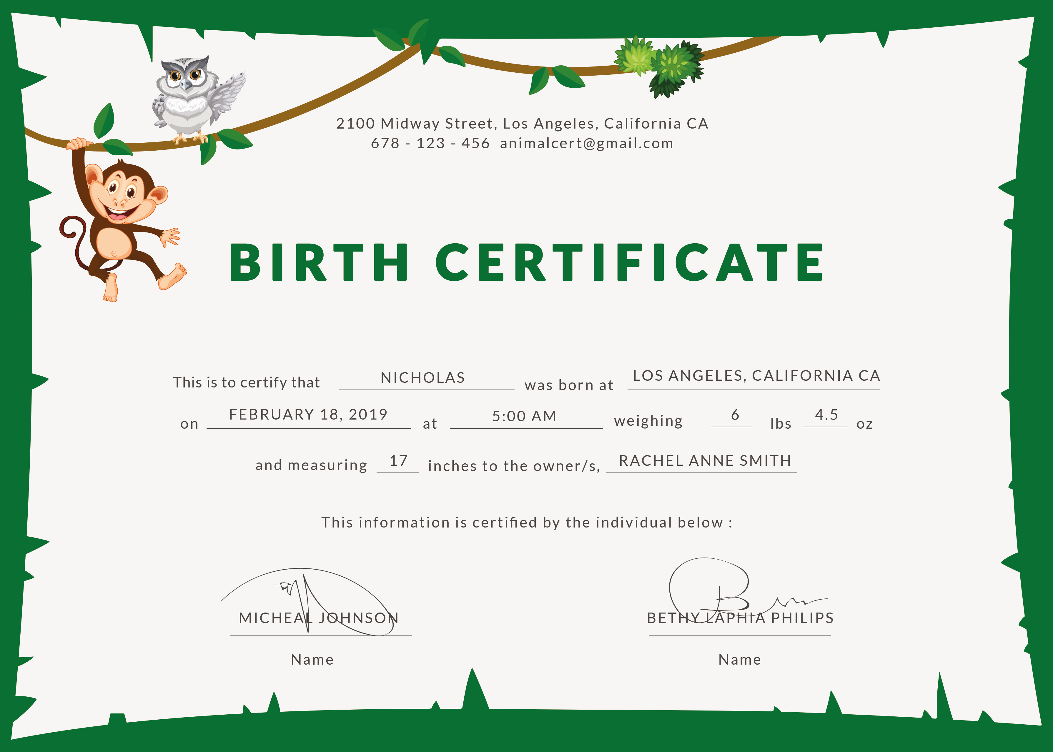 Free Animal Birth Certificate Template in PSD, MS Word, Publisher