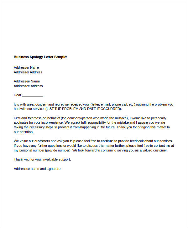 Formal Apology Letter. Public Apology Letter Sample Letters Font