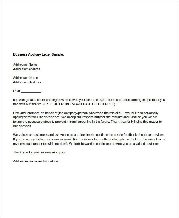 Sample Apology Letter Templates 13 Free Word, Pdf Documents Inside