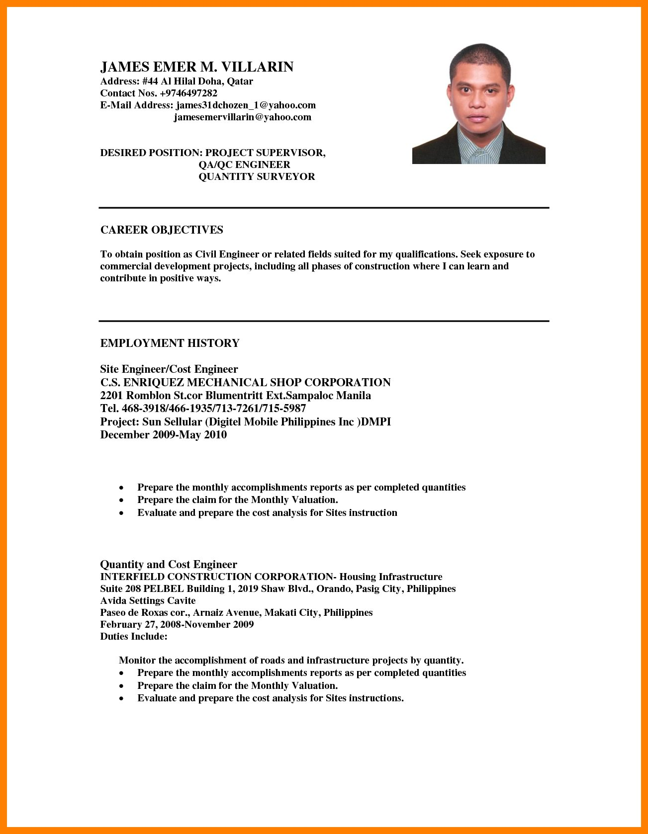 Career Objective for Resume for software Engineers Free Download 6