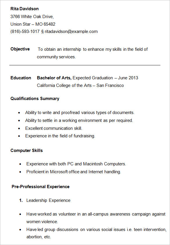 college students resume sample Ozil.almanoof.co