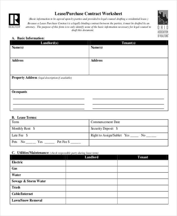 Lease Contract Form 8+ Free Word, PDF Documents Download | Free