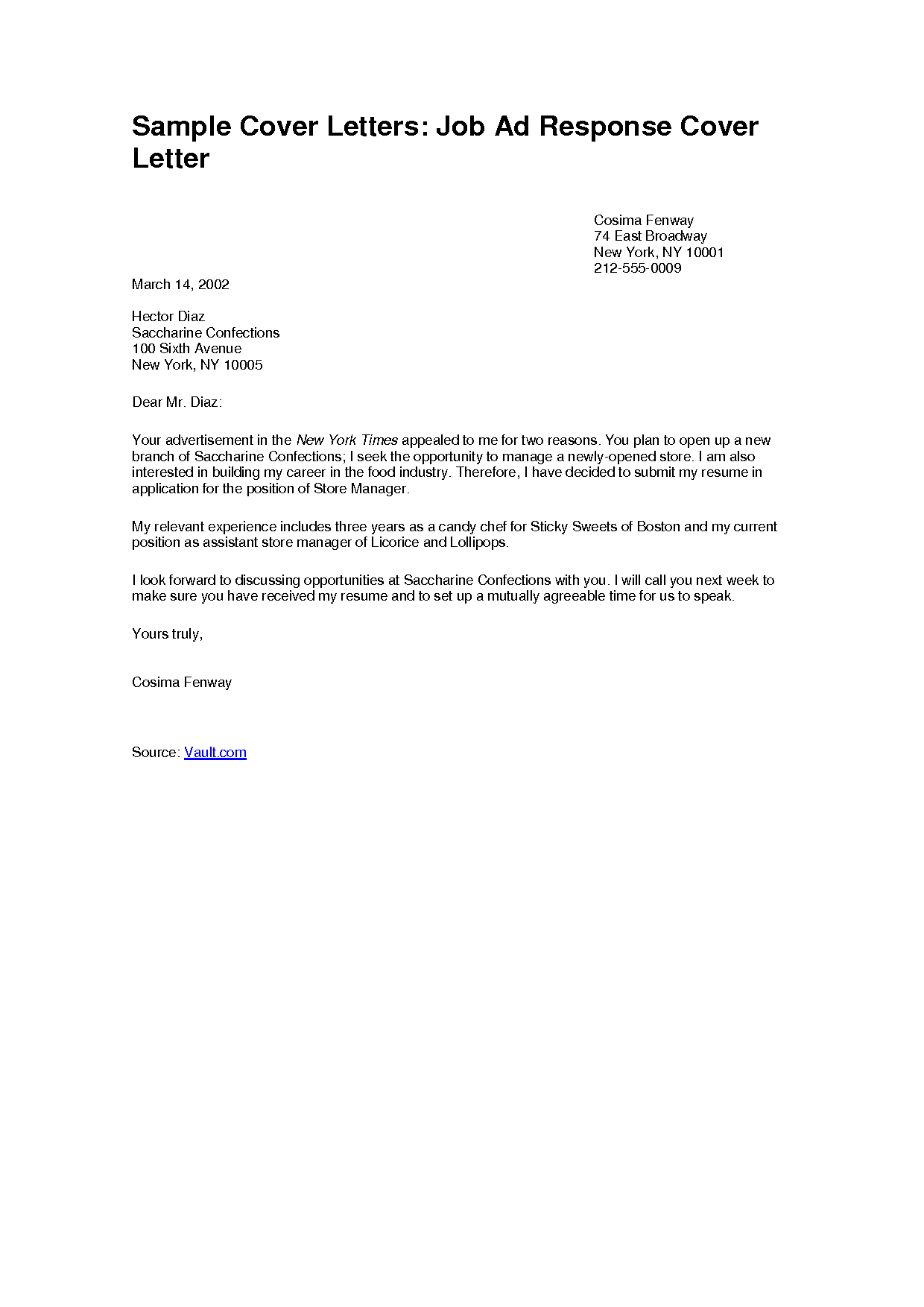 Cover Letter Example For A Job Superb Examples Of Cover Letters