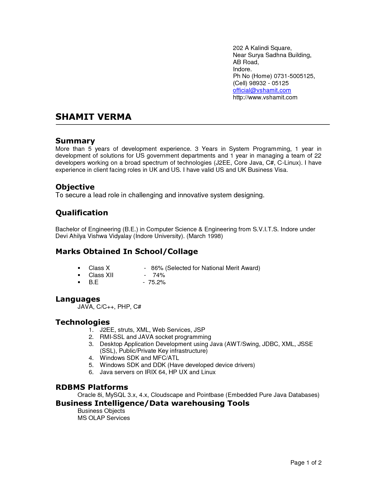 current resume format