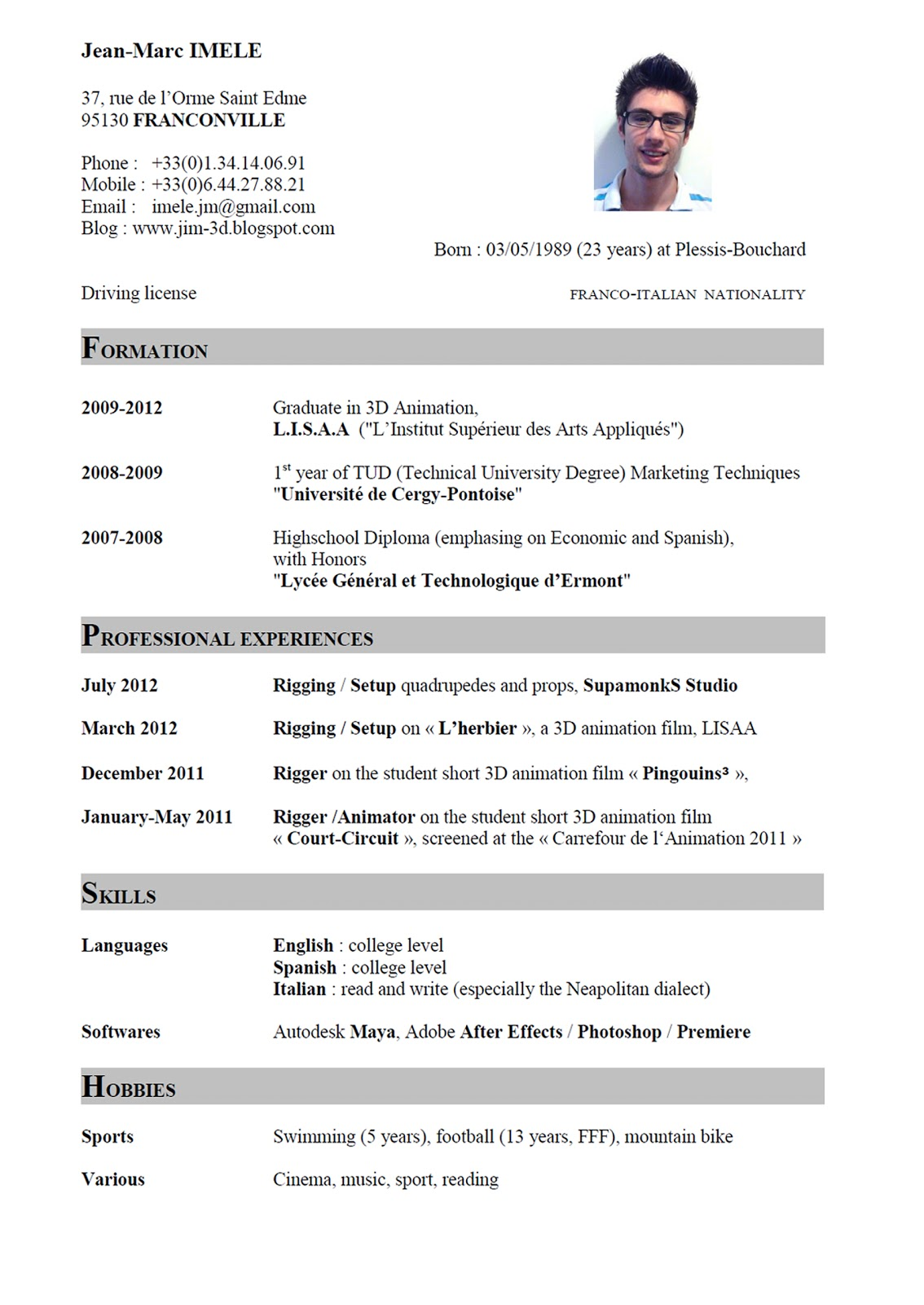 example curriculum vitae in english Yeni.mescale.co