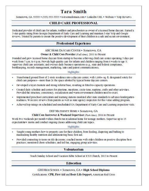 Child Care Resume Sample | Monster.com