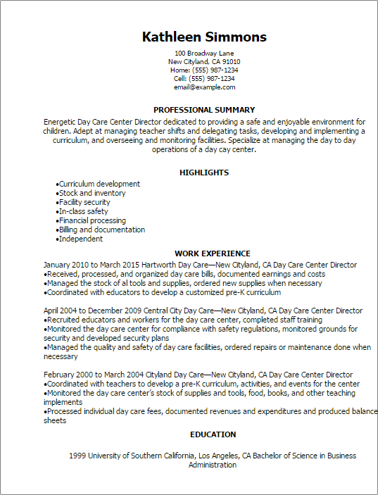 1 Day Care Center Director Resume Templates: Try Them Now