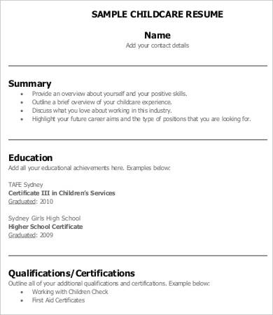 8+ Child Care Resume Templates PDF, DOC | Free & Premium Templates