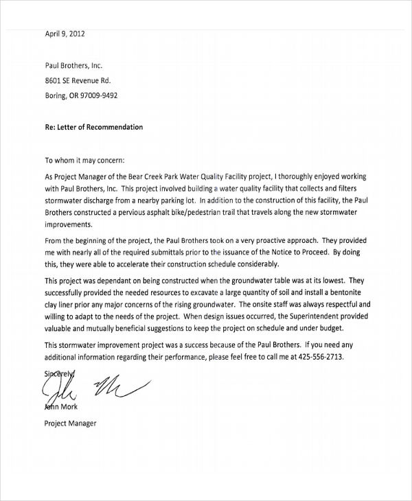 Employment Recommendation Letter For Previous Employee | Reference