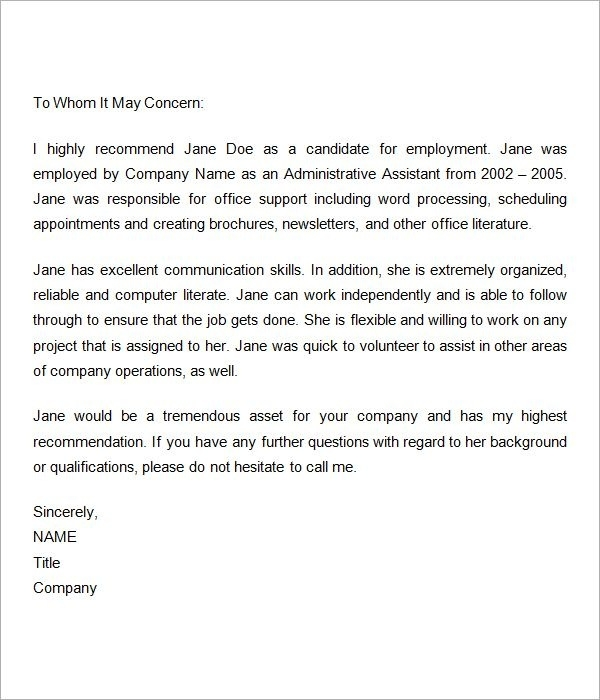 Sample Recommendation Letter For Employee Regularization Sample