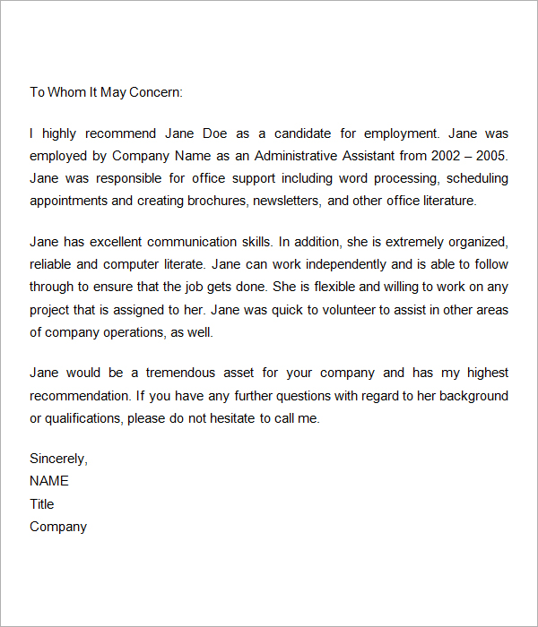 Work Recommendation Letter Employment Recommendation Letter For