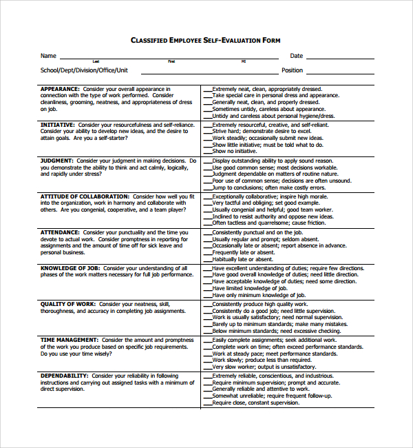 Sample Employee Self Evaluation Form 8+ Free Documents in PDF, Doc
