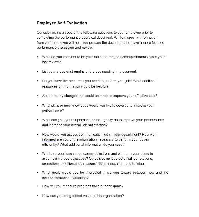 50+ Self Evaluation Examples, Forms & Questions Template Lab