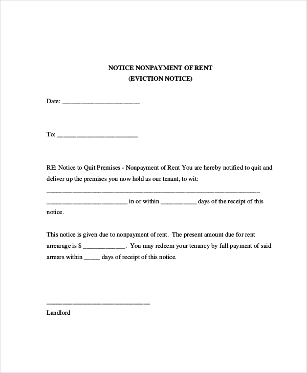 Eviction Letters 7+ Free PDF, Word Documents Download | Free