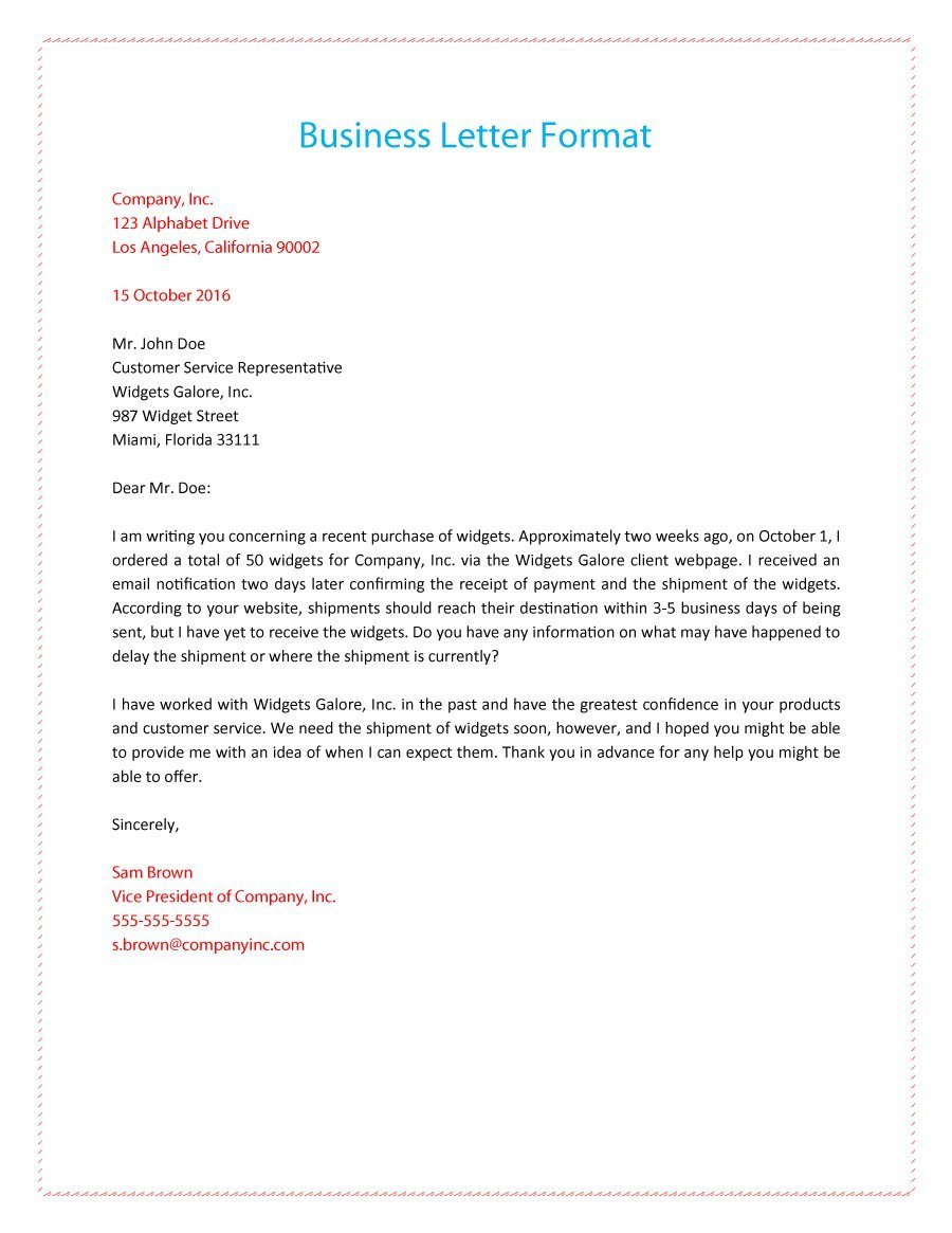 An example of a business letter 4 th format about shipment publish