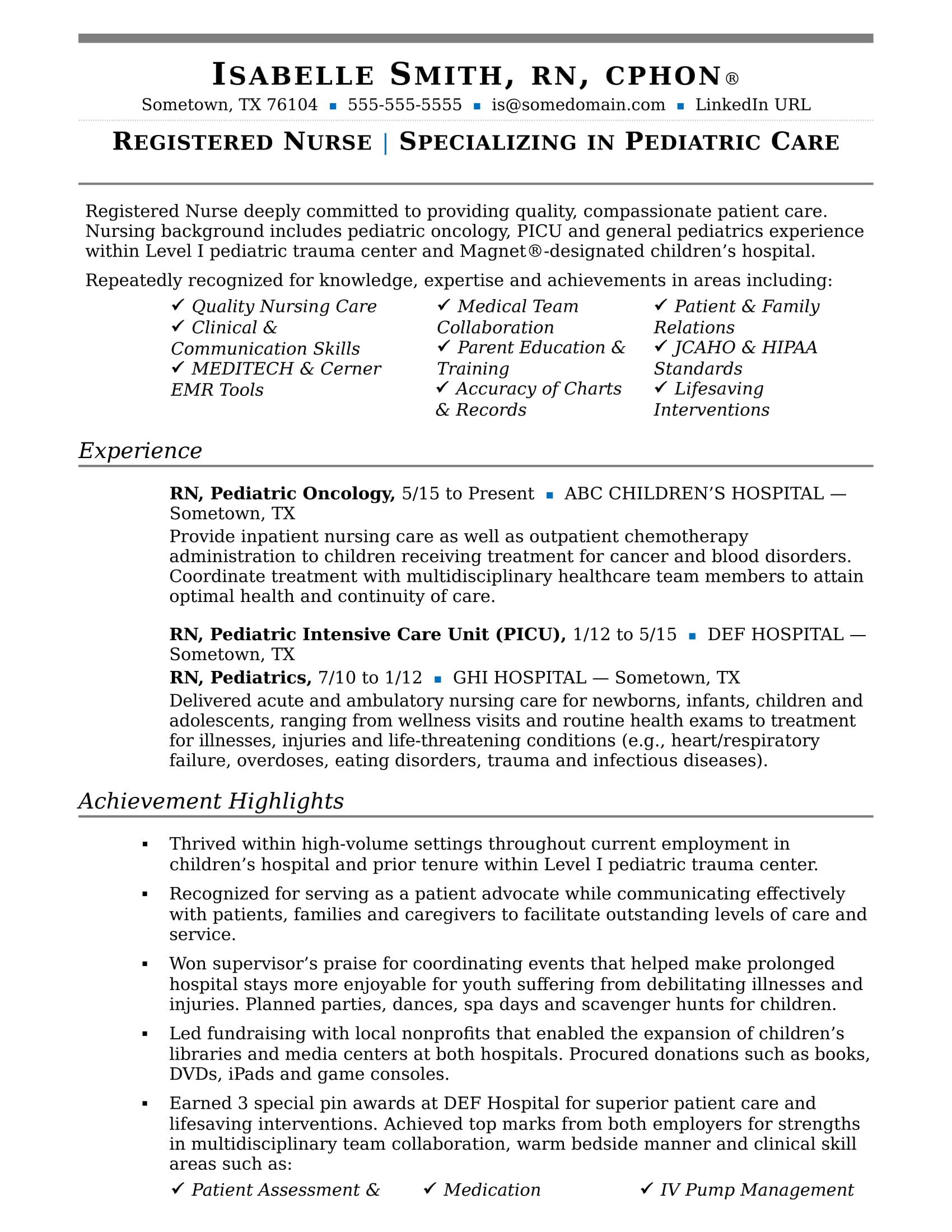 Nurse Resume Sample | Monster.com