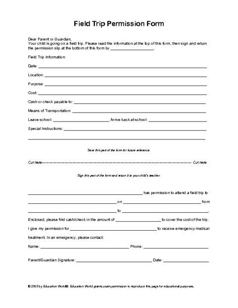 Field Trip Permission Slip Template | Education World