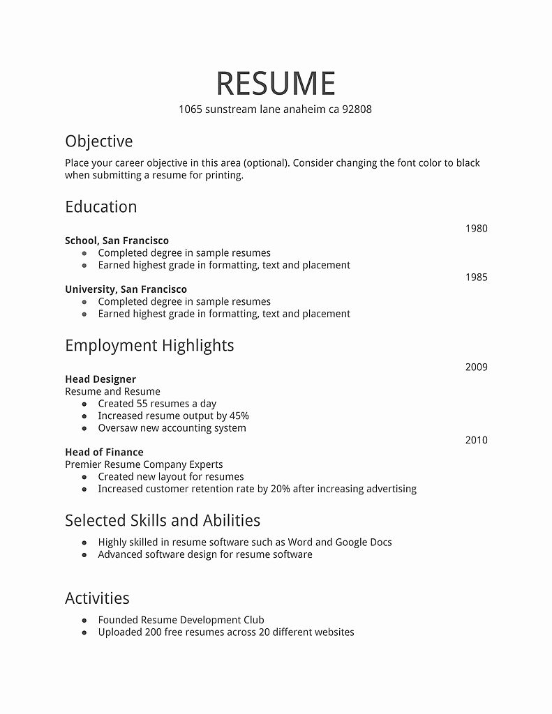 First Time Resume Examples outathyme.com