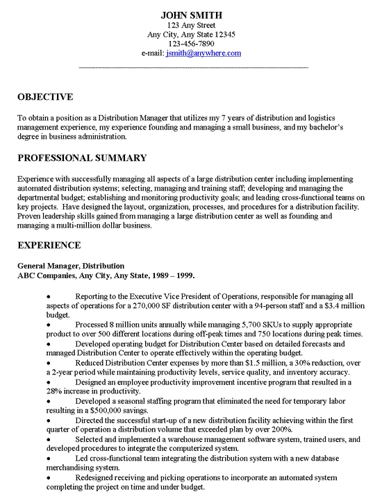 General Job Objective Examples Resume Objectives Throughout