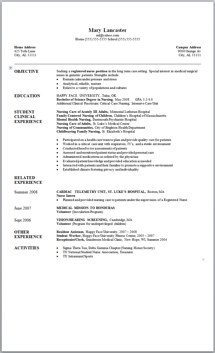 New Nurse Graduate Nursing Resume Student Clinical Experience New