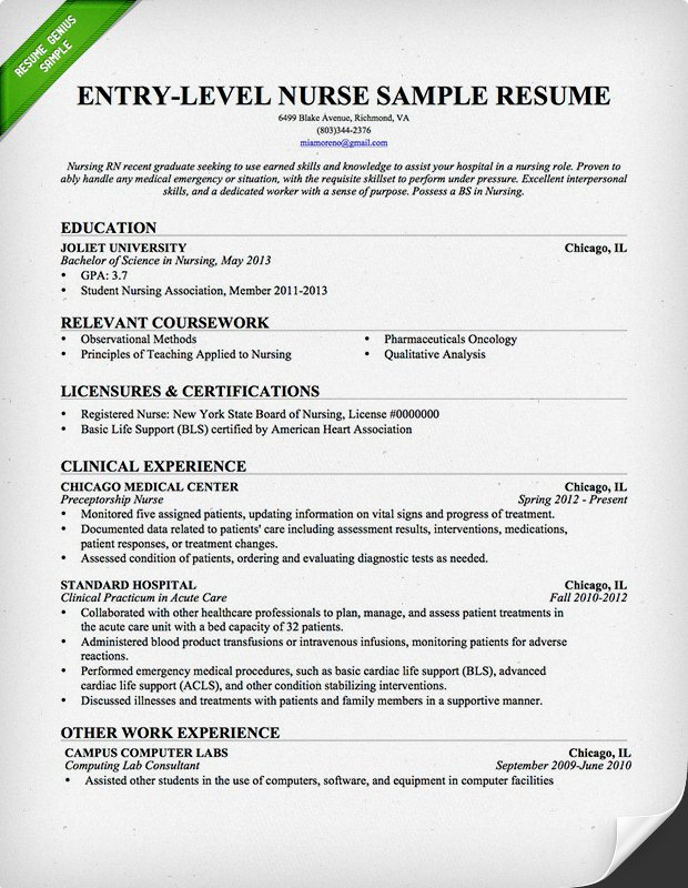 Entry Level Nurse Resume Sample | Resume Genius