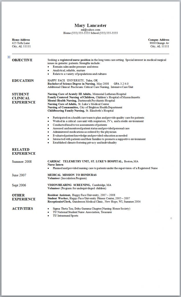 Sample Nursing Resume New Graduate Nurse Tips For Student Nurse