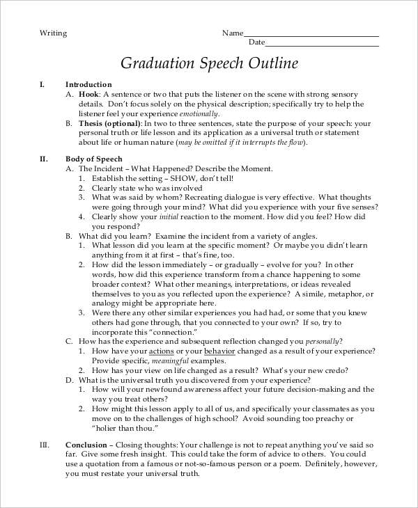 8+ Graduation Speech Examples & Samples PDF