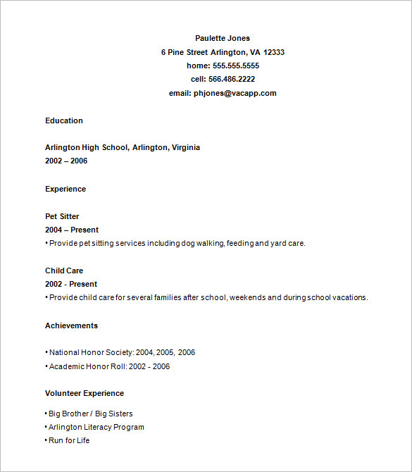 9+ Sample High School Resume Templates, Samples, Examples | Free
