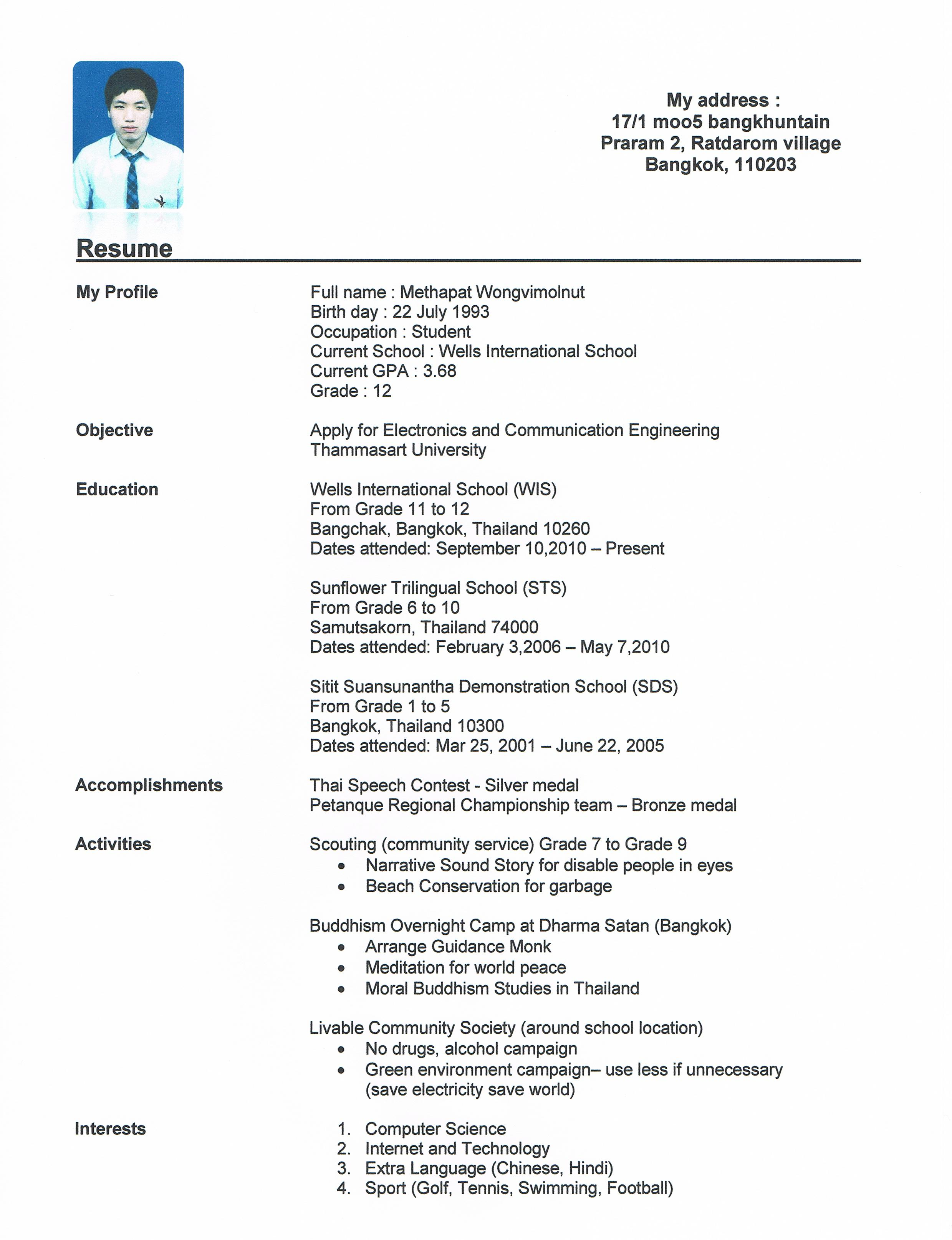 Resume High School Student essayscope.Com