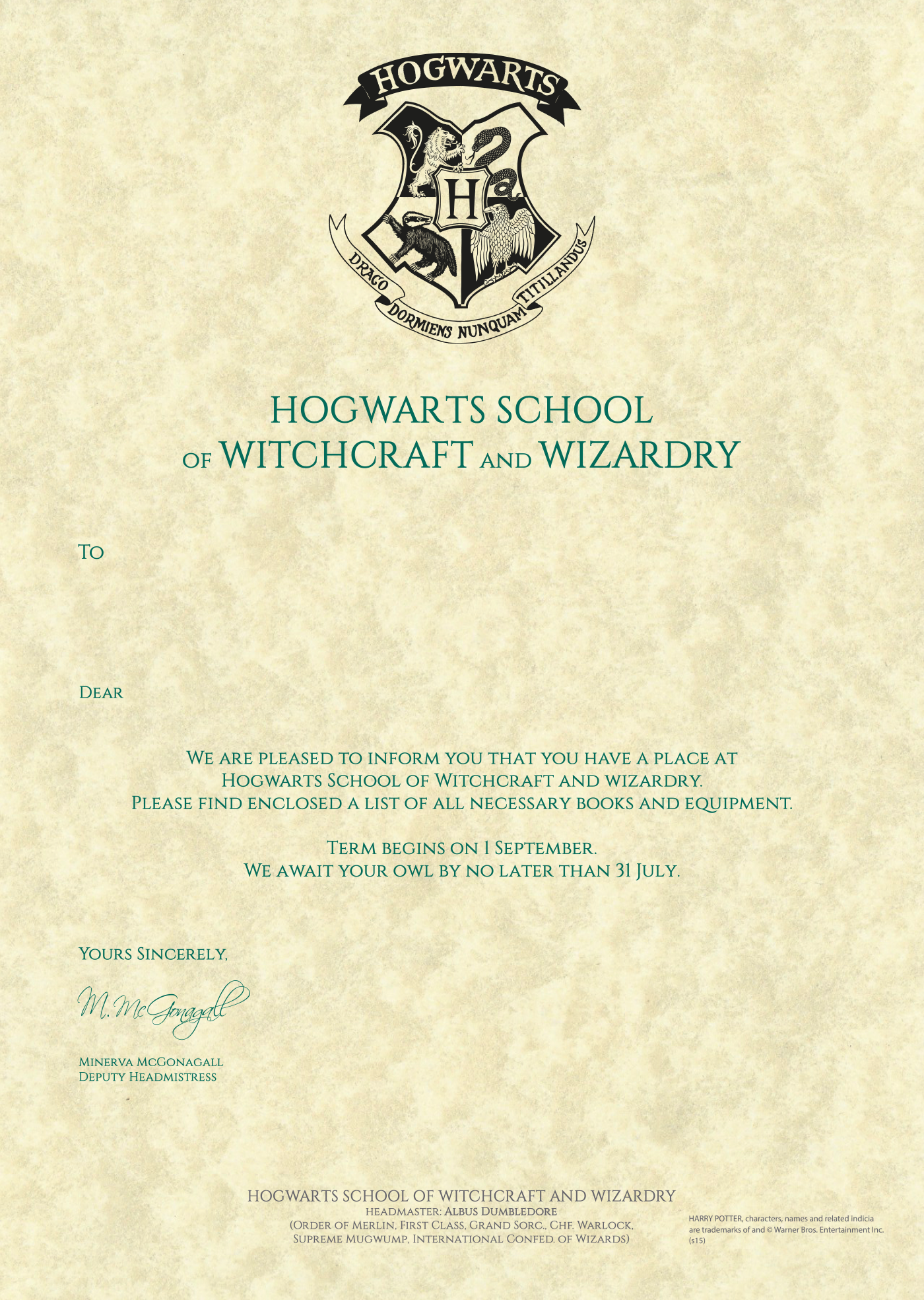 Personalised Hogwarts Acceptance Letter | Harry Potter Store