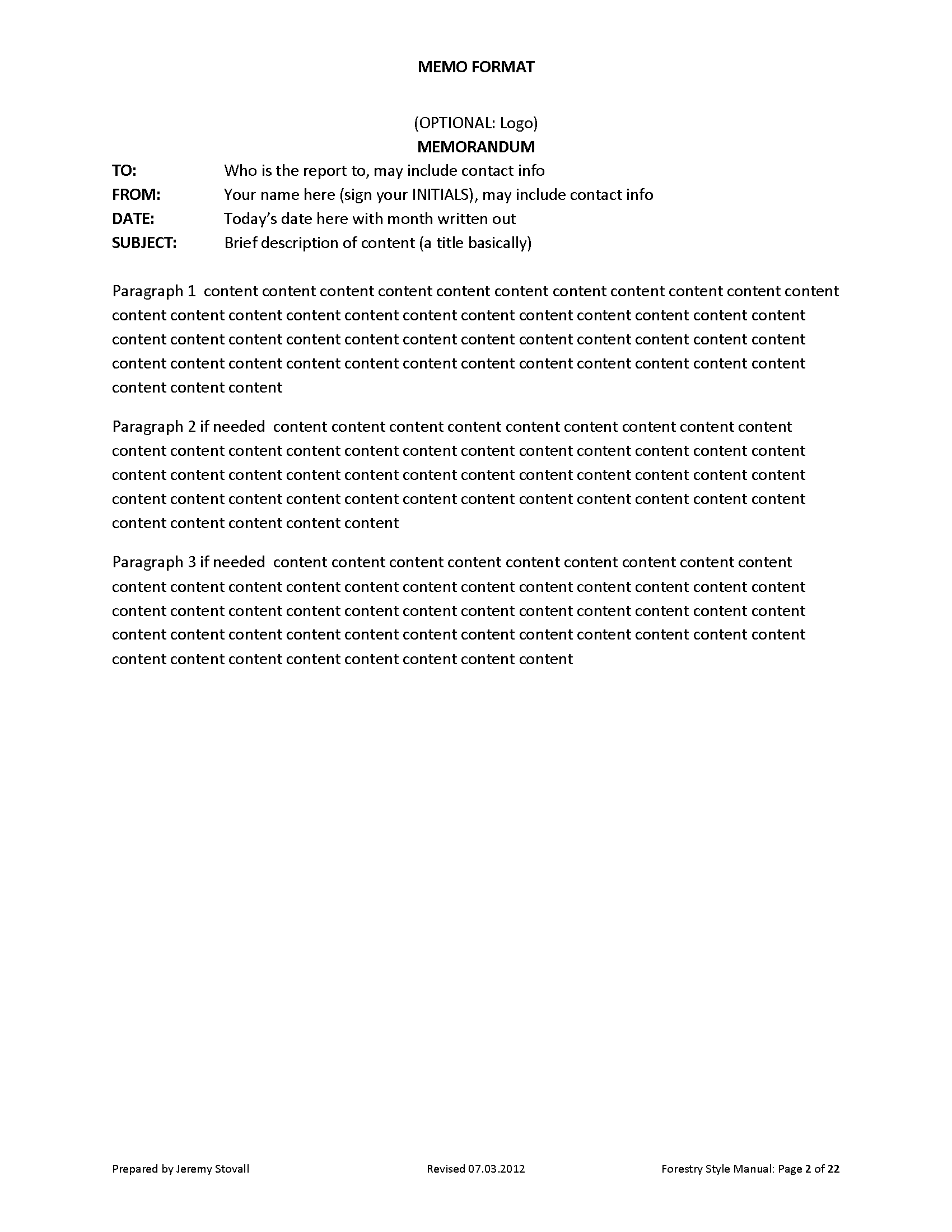 Memo Formatting Format For Memos Oklmindsproutco Dtk Templates