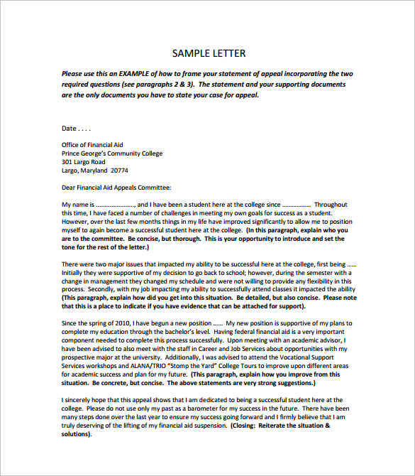 financial aid appeal letter template sample financial aid appeal