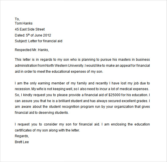 sample financial aid appeal letter Bare.bearsbackyard.co