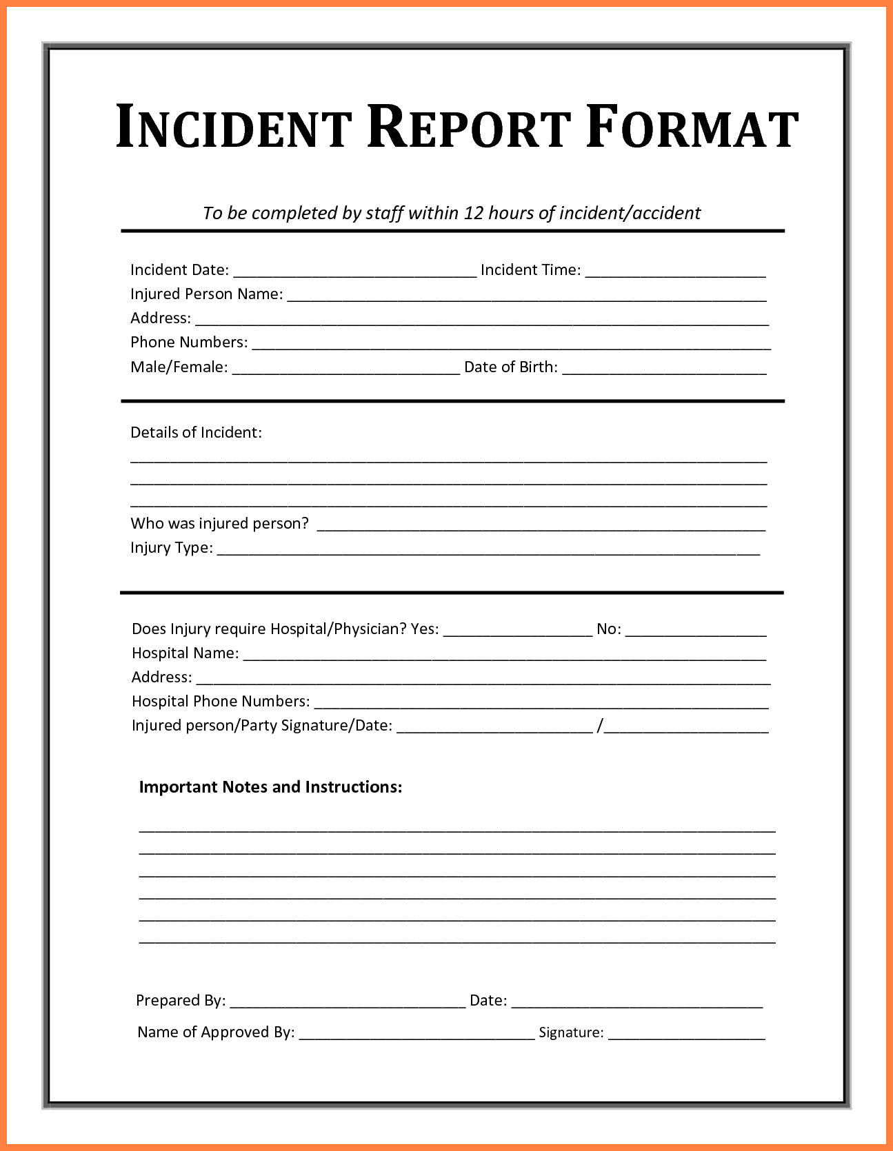 4+ accident incident report form template | Progress Report