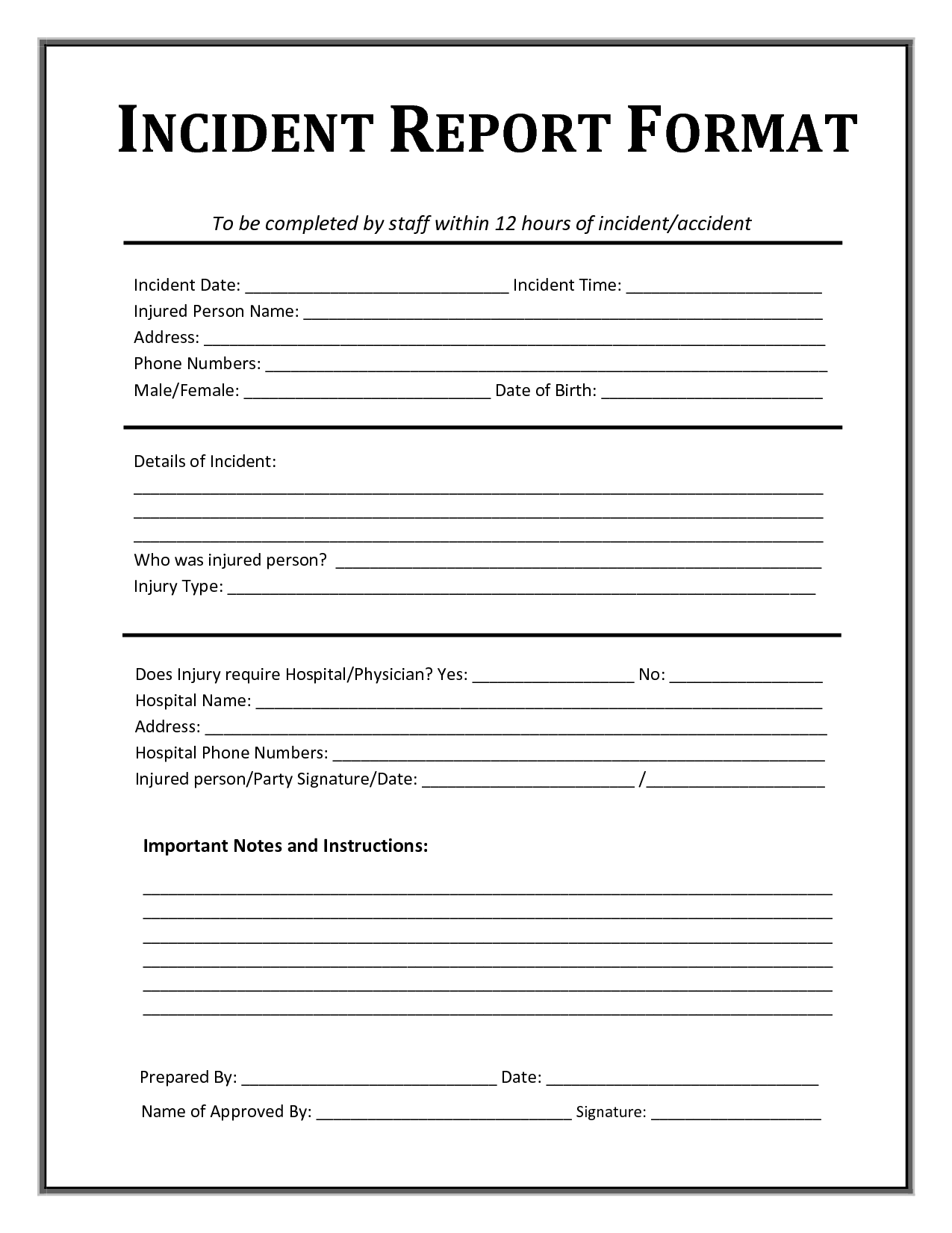 Incident Report Form Template | After School Sign In | Pinterest