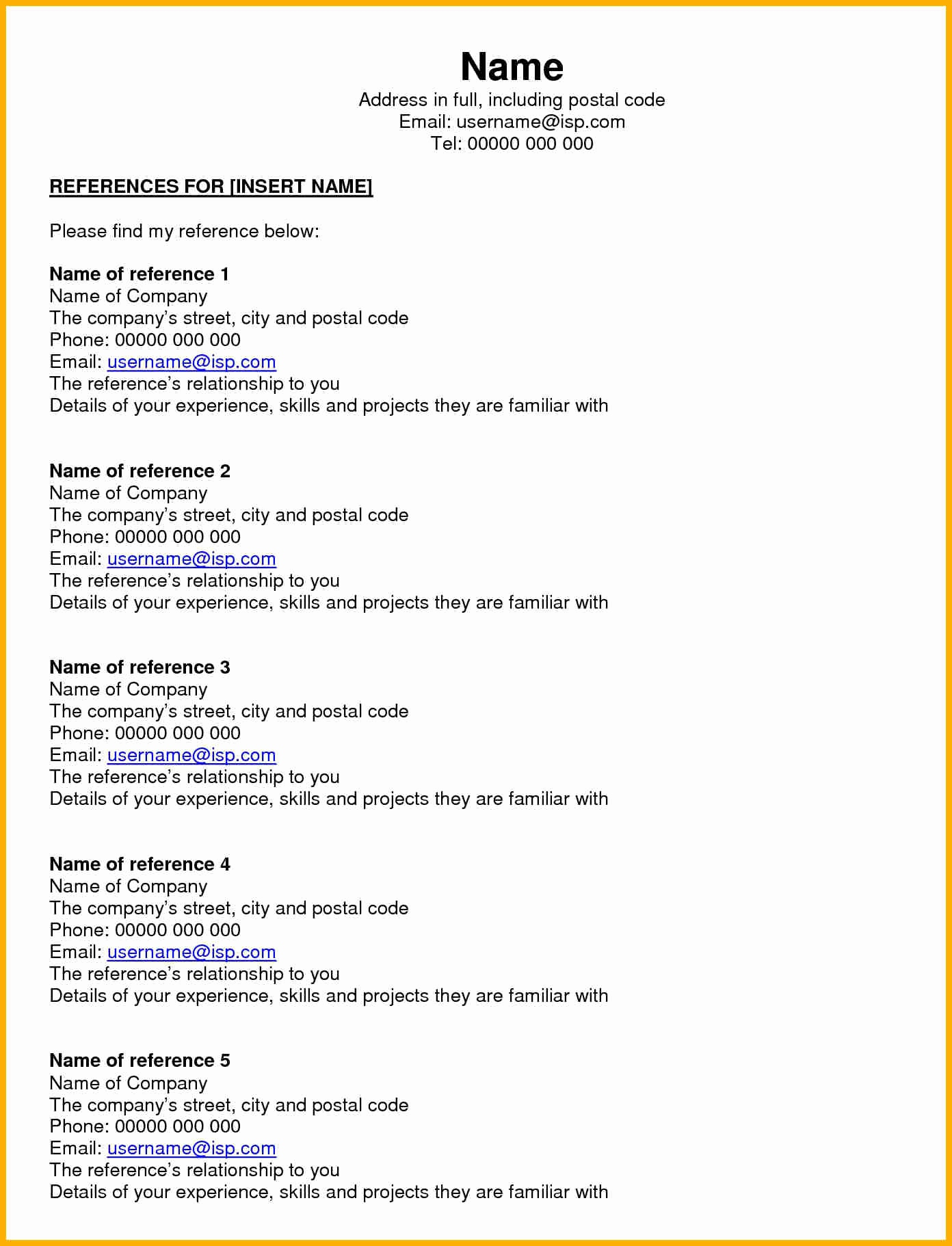 Resume Reference Page Template Beautiful 5 Job Reference Page