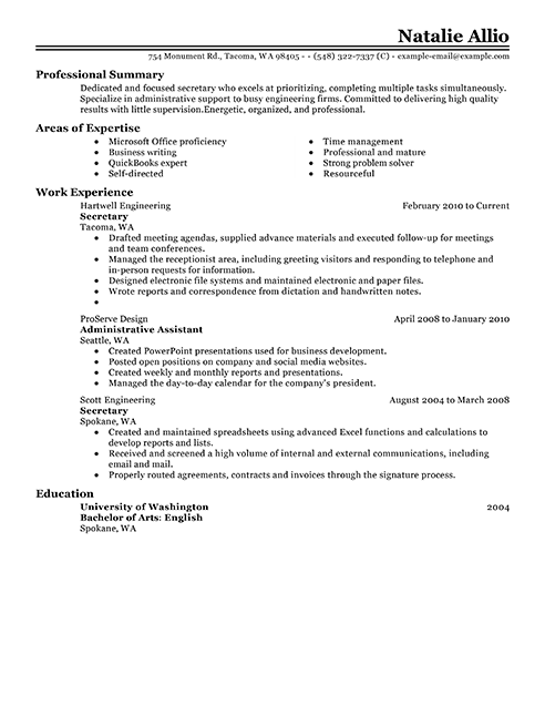 Job Resume Outline Secretary Resume Example Job Resume Tips Choose