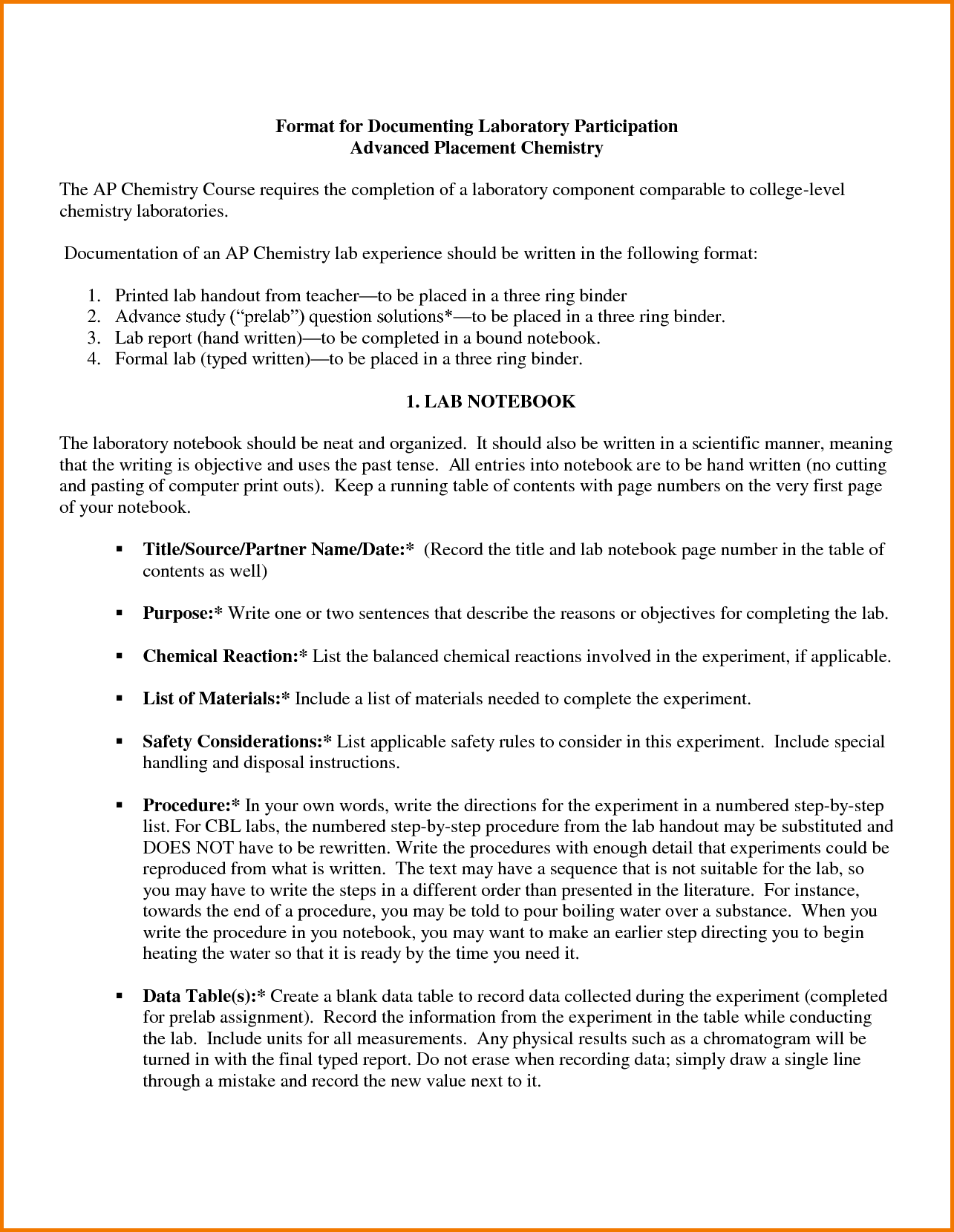 Lab Report Template Chemistry (4) | Professional And High Quality