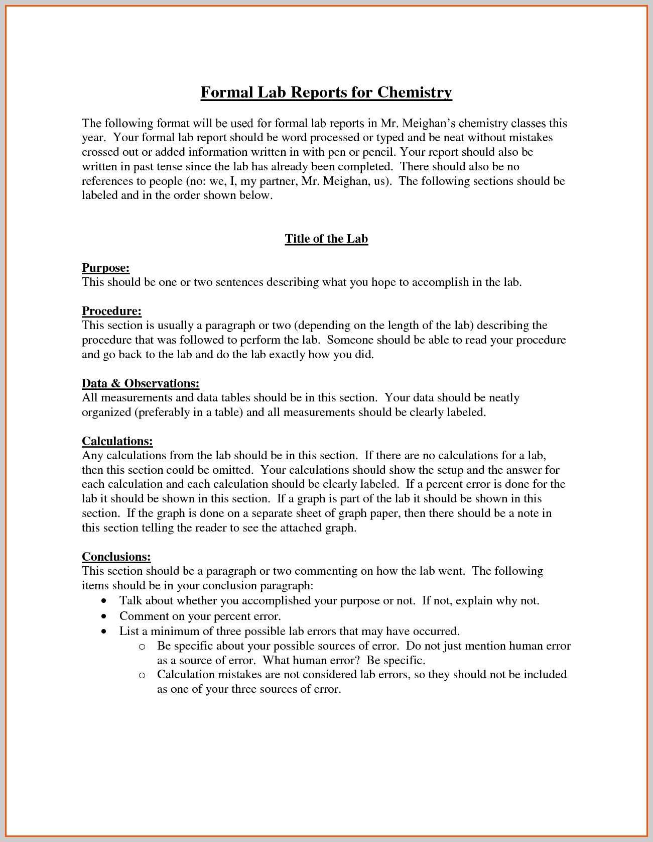 Chemistry Lab Report Template | fieltro.net