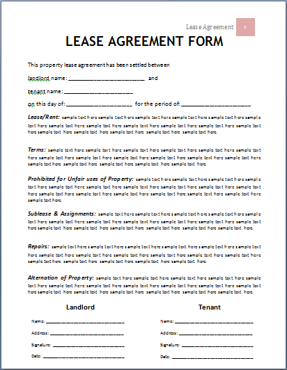 Lease Agreement Form Brittney Taylor