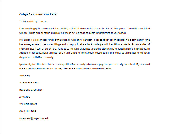 12+ Letter of Recommendation for Student Templates, Samples