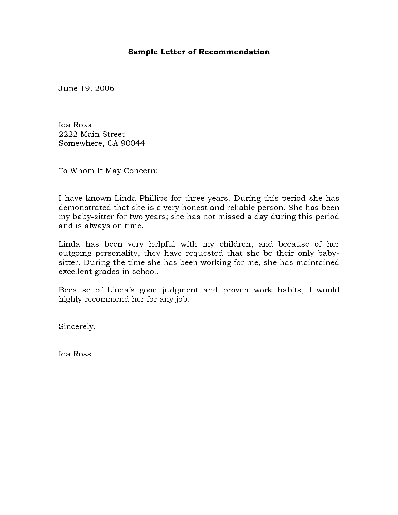 18 Reference Letter Template Free Sample Example Format Letter Of