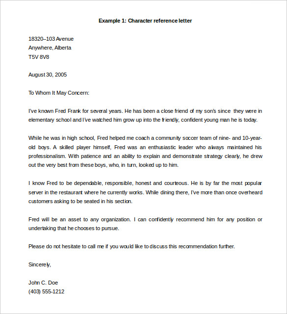 letter of reference template reference letter template word