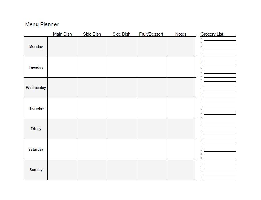 40+ Weekly Meal Planning Templates Template Lab