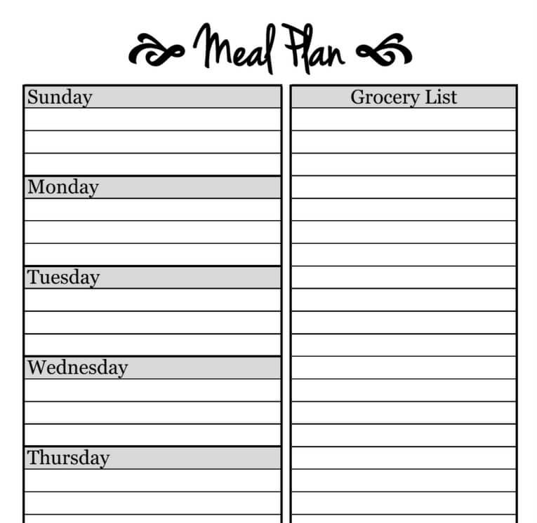 Simple Meal Planning Template! The Picky Eater