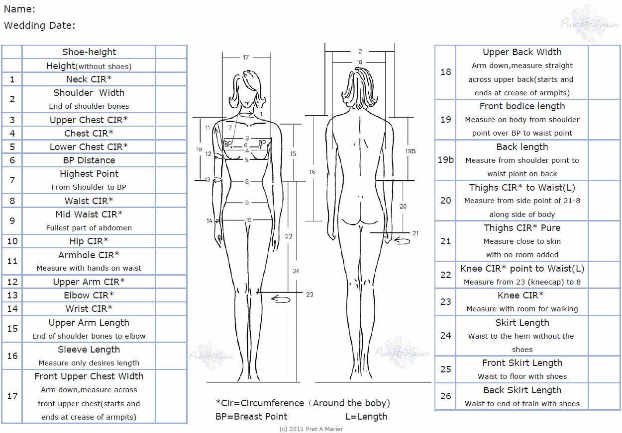 Measurement chart fitting a wedding dress or gown Pret A Marier