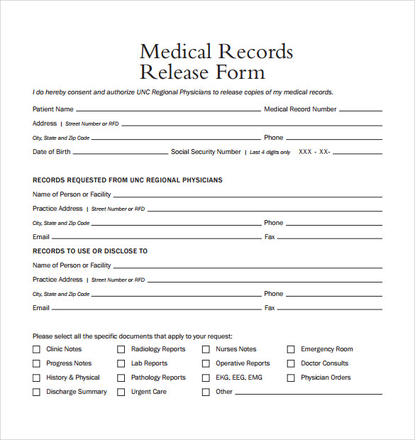 medical record release form template simple medical records