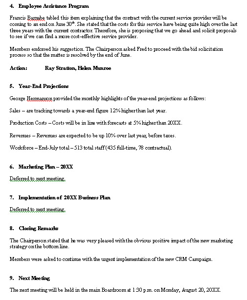 Meeting Minutes sample format for a typical meeting minutes