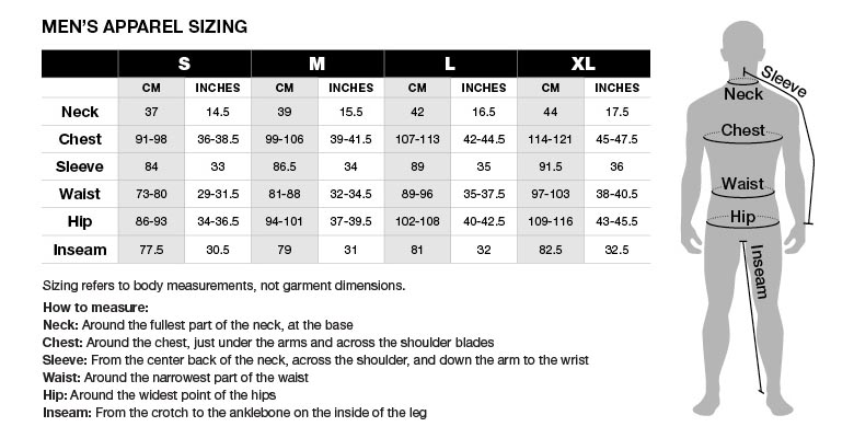 Size Chart: Men's Apparel